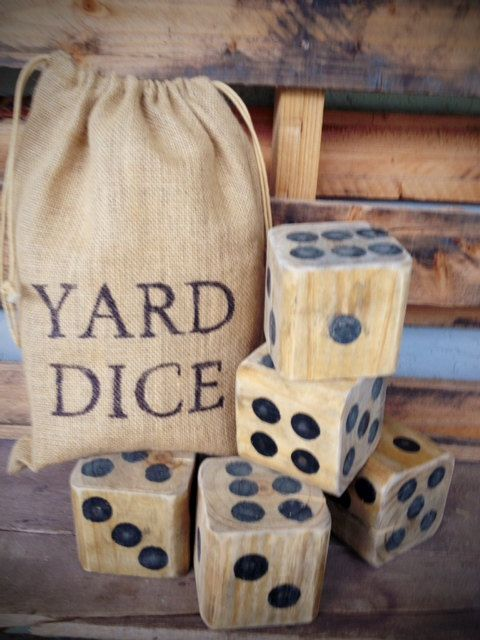 Giant Dice Yard Dice with chalkboard tablet by RusticHomemade, $36.50
