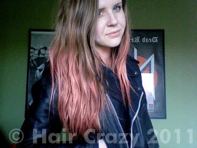 Manic panic pink flamingo over my unbleached hair