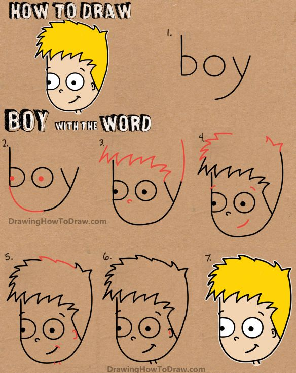 how to draw a cartoon boy with the word boy easy tutorial for kids - Cartoon Kids Drawing