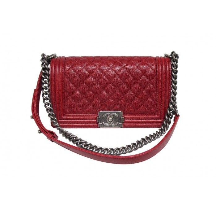 Chanel 2014 Medium Dark Red Caviar Leather Le Boy Bag - Chanel Medium Le Boy Dark Red Quilted Caviar Leather Bag  Caviar leather Single or double chain and leather strap   Front flap closure Gunmetal aged hardware Interior canvas lining Interior slip pocket Includes dustbag box and card  <b> 3 Day Return Policy </b>