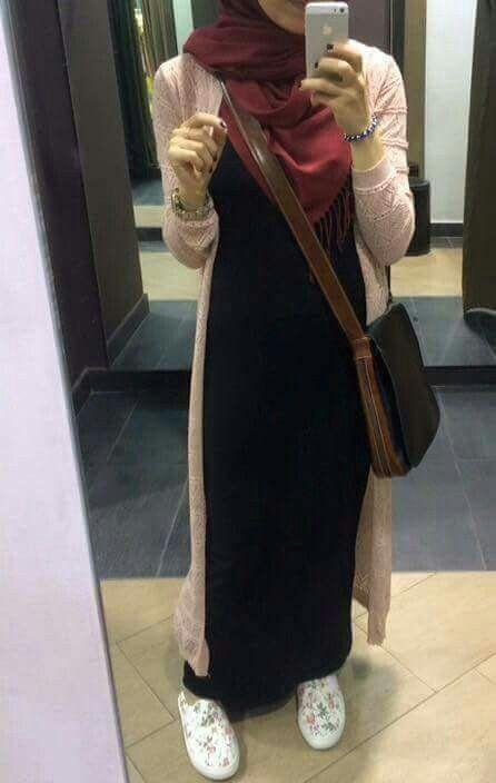 Black long dress with cardigan & dark red scarf