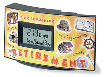 Retirement Countdown Clock      Time To Leave. Just set the moment you expect to retire, and Countdown Clocks, Inc. Retirement Clock will let you know exactly how much time is left before the big event, making it a perfect gift.