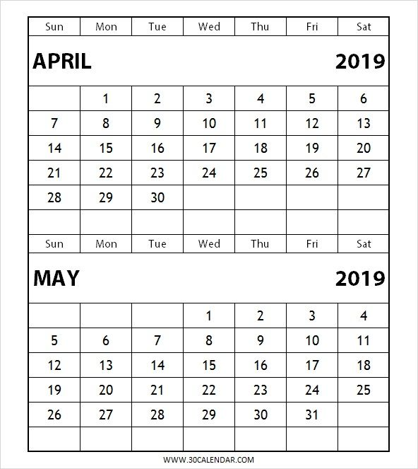 2 Month Calendar 2019 Two Month April May 2019 Calendar | 100+ Free May 2019 Printable