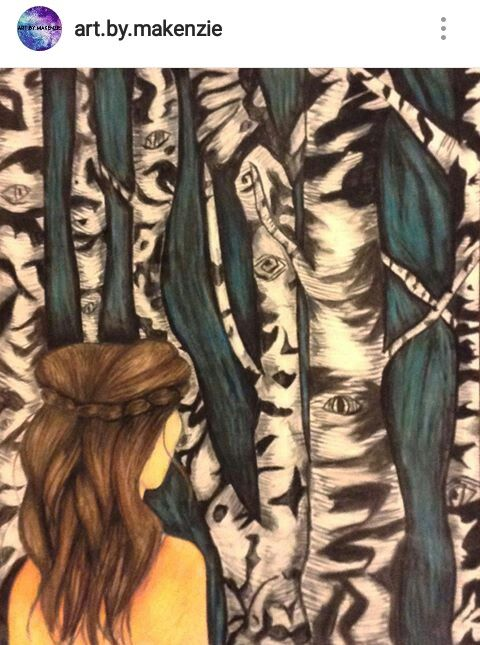 Girl in forest drawing by Makenzie Beckstead