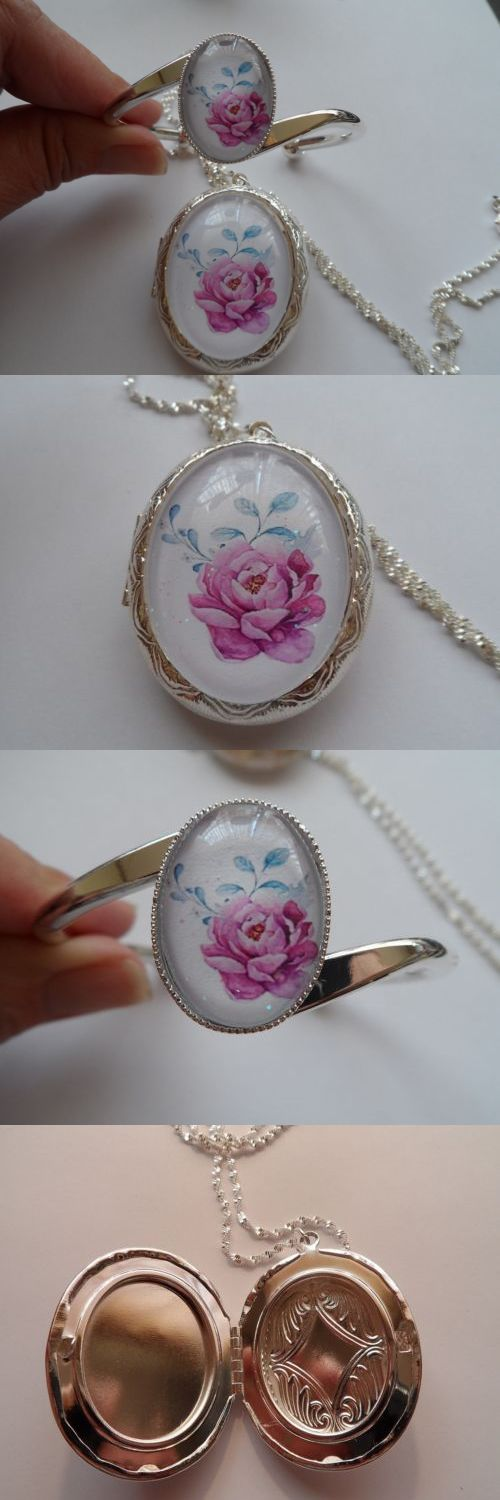 Sets 34071: Pink Peony Locket And Bracelet Set BUY IT NOW ONLY: $36.99