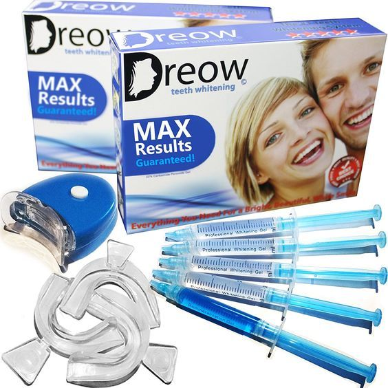 DREOW TEETH WHITENING LED Light KIT, 4 XL Carbamide Peroxide Gel Syringes, Remineralizing Syringe, 3 Mouth Trays. Safe and Fast Results - Whitens Teeth Up To 6 Shades in ONLY 2 Days, Removes Coffee, Wine, Tobacco Stains, Dentist Recommended Product *** To view further for this item, visit the image link.