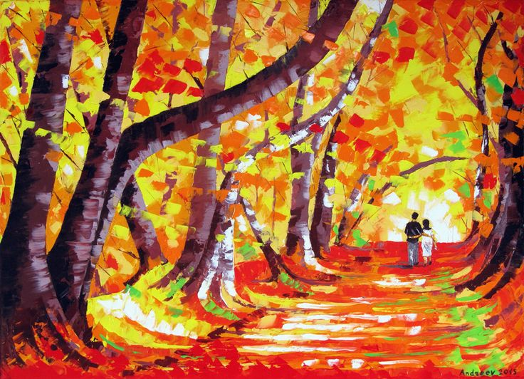 """Autumn - Original Landscape Oil Painting On Stretched Canvas By Vesselin Andreev - Size: 28"""" x 20"""" (70 cm x 50 cm) Fine Art Drawing Artist by VesselinArtStudio on Etsy"""