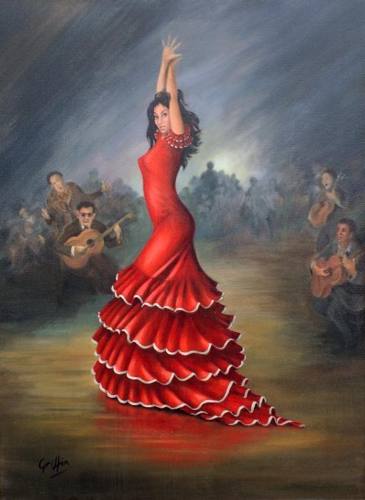 Dance Paintings | Flamenco Dancer Painting by Mai Griffin - Flamenco Dancer Fine Art ...