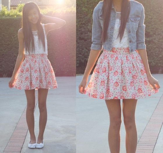 So girly and super cute!! teen - summer - fashion - skater skirt- denim jacket - ootd - long hair -