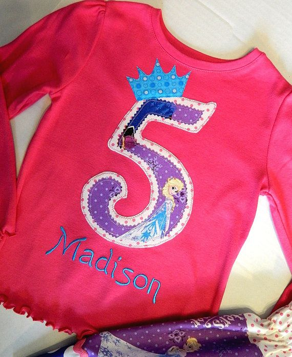 Birthday Shirt made with Disney's Frozen Fabric..Elsa or Anna..And Embroidery of Child's Name..1,2,3,4,5,6,7,8....Sizes 12 Months To 8 Girls on Etsy, $26.00