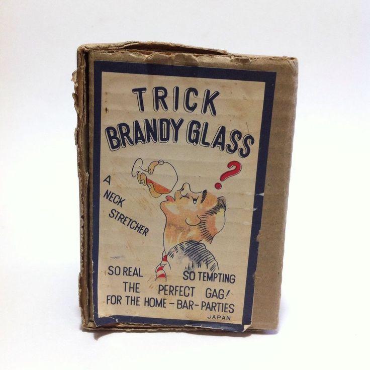 Vintage Magicians Illusionist Trick Brandy Glass & Box Japan Magic Joke Gag MCM