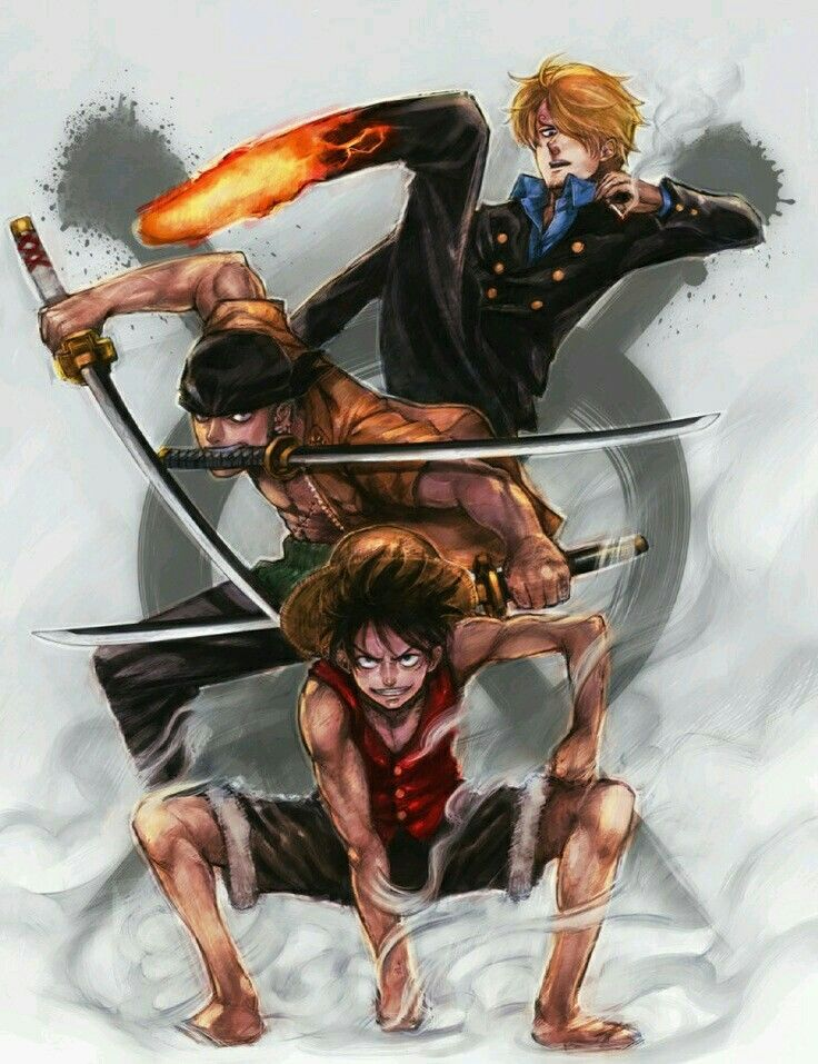 Monkey D. Luffy, Roronoa Zoro and Vinsmoke Sanji