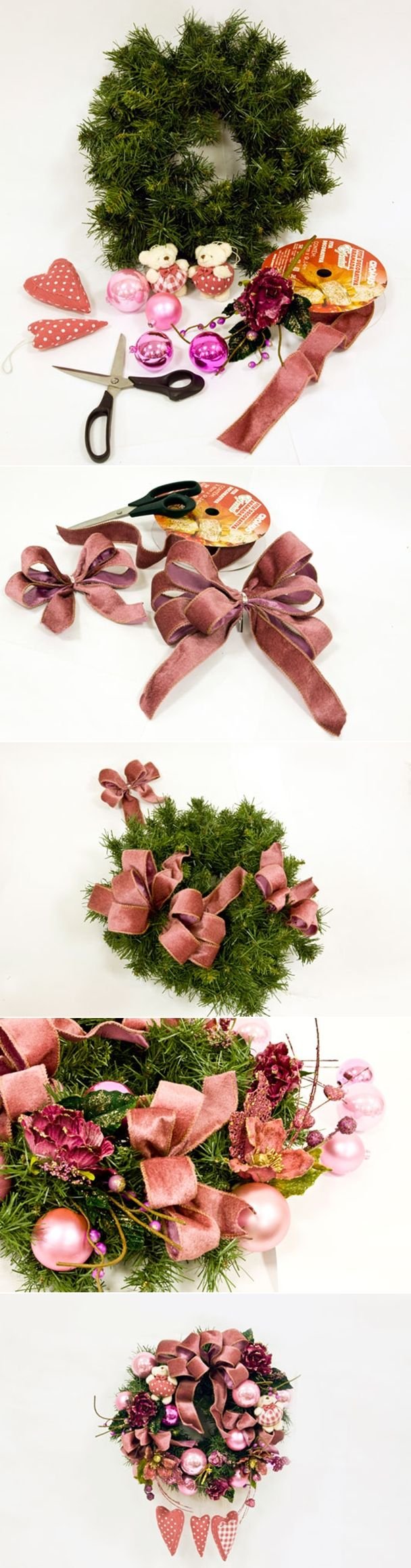 diy christmas wreath tutorial with pink decorations