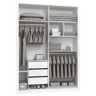 Guarda-roupa 2 Portas de Correr Criative com espelho Semi-brilho Branco Acetinado - Henn