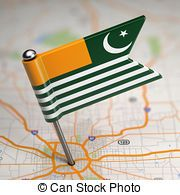 Azad Kashmir Small Flag on a Map Background. - Small Flag of...