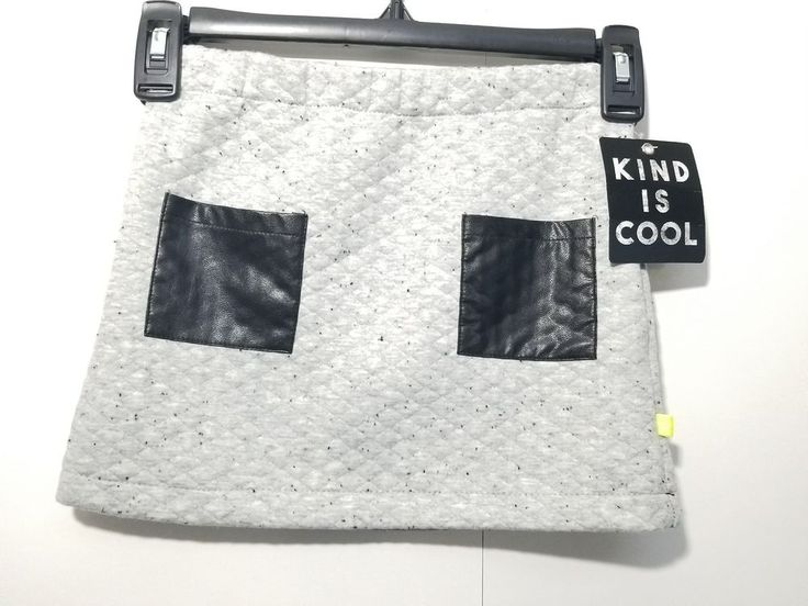 Kind Is Cool Skirt Girls XS Gray Black Polyester Cotton, NWT #KindIsCool