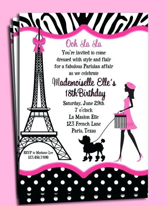 paris themed birthday invitations