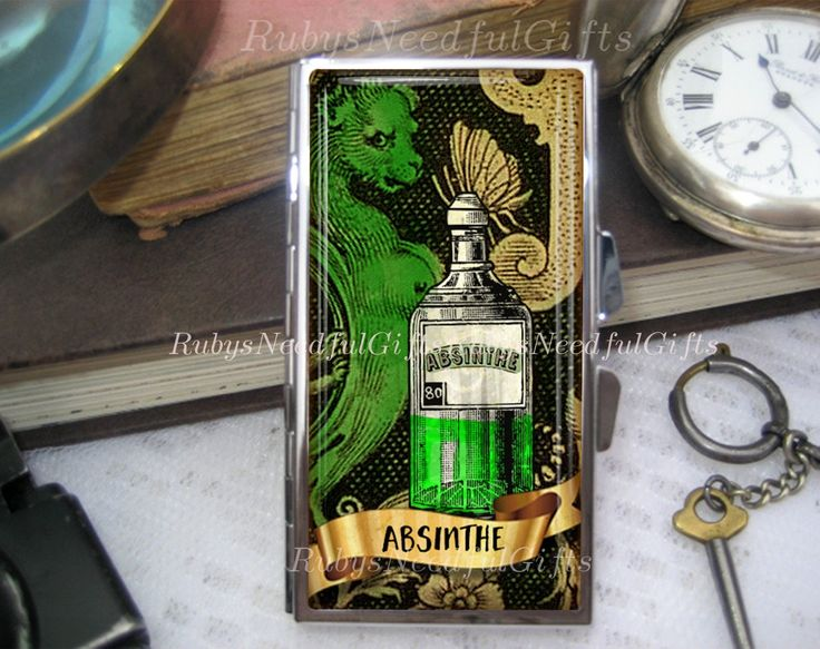 Absinthe Pill Case, 7 day Pill Box, Pill Case, Pill Box, 7 Sections, Pill Container, Zombie Pill Box, Medicine Organiser, Absinthe. by RubysNeedfulGifts on Etsy