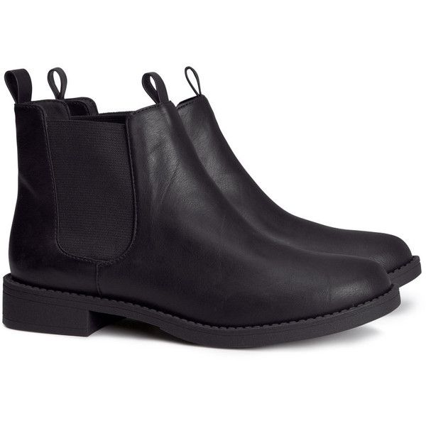 H&M Chelsea boots ($39) ❤ liked on Polyvore featuring shoes, boots, ankle booties, h&m, black, rubber sole boots, black boots, black ankle booties and black chelsea boots