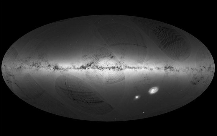 Mapa de nossa galáxia, a Via Láctea, e galáxias vizinhas, baseado em informações…