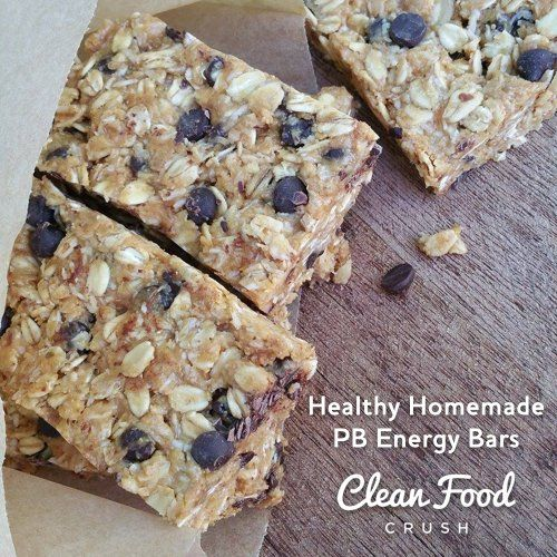 Healthy Homemade PB Energy Bars http://cleanfoodcrush.com/No-Bake-Energy-Bars
