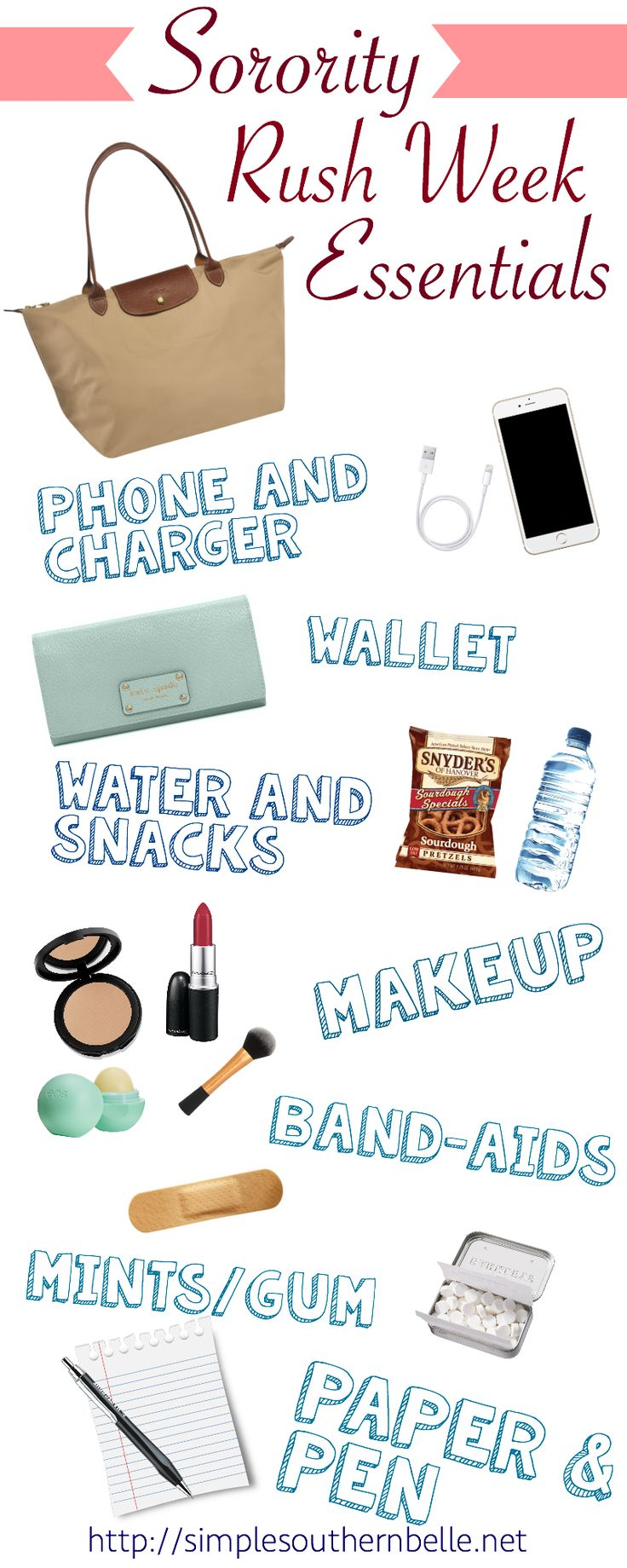 Sorority Rush Week Essentials: These 8 items will help calm your nerves and have you prepared for anything during rush week! http://simplesouthernbelle.net