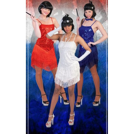 Blauw charleston jurkje voor dames. Blauw feest jurkje voor dames in de stijl van de jaren 20. Met een glitter bovenlijfje en franje rok.
