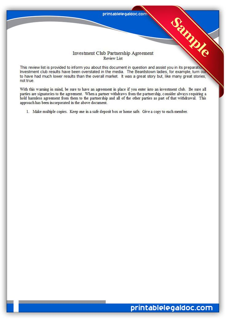 Free Printable Investment Club Partnership Agreement Legal Forms
