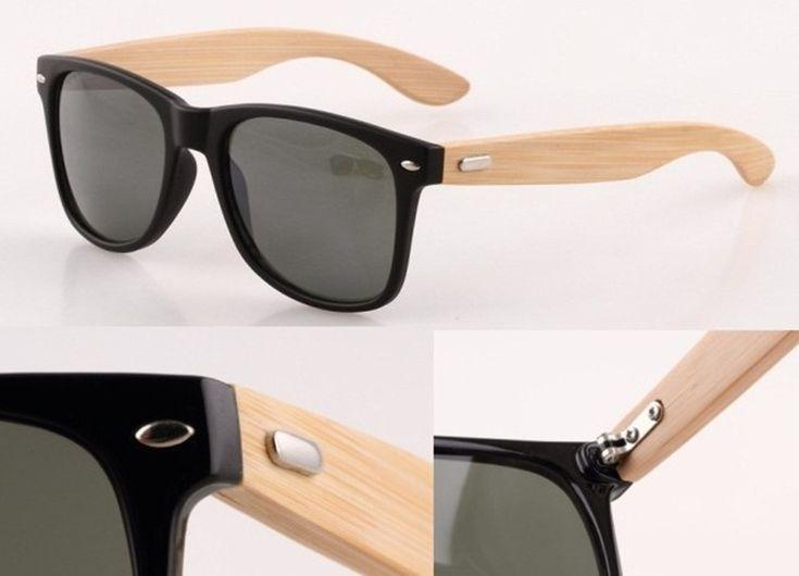 Солнцезащитные очки-вайфареры с деревянными дужками (в наличии черные) - 17872