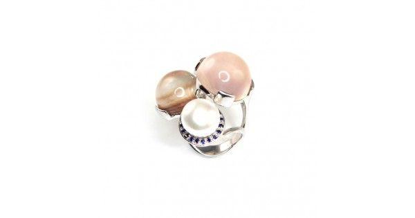 Spectaculos inel cocktail - MISIS - perlă & double de safir cu sidef natural