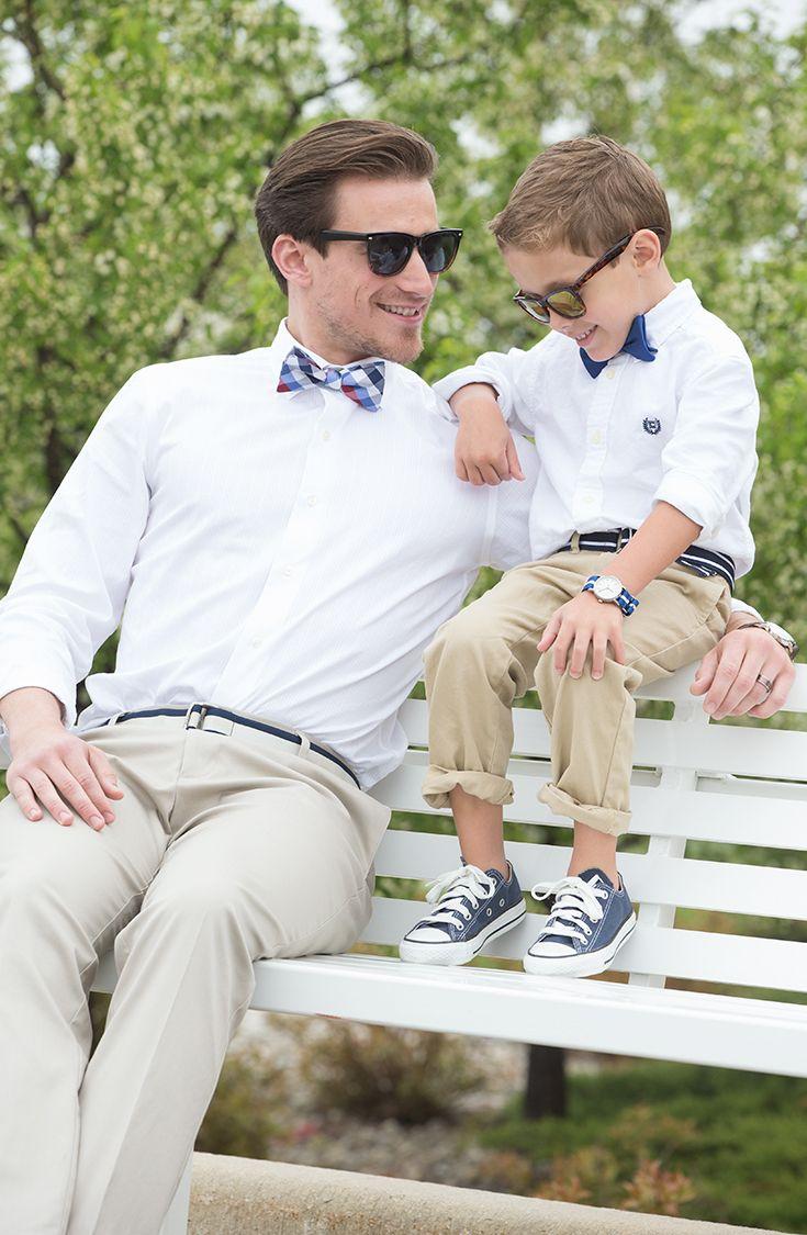 Estilo vintage con colores neutros, para un evento de día, padre e hijo.
