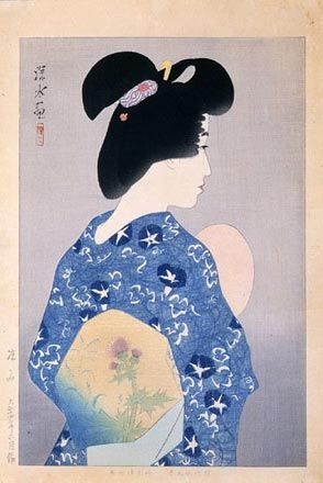 "Ito Shinsui, Evening Cool (Suzumi), Taisho Period, 1925. Color woodblock print, 14 x 10"" (37.7 x 25.5 cm). Published by Isetatsu. Scholten Japanese Art Collection, New York, NY."