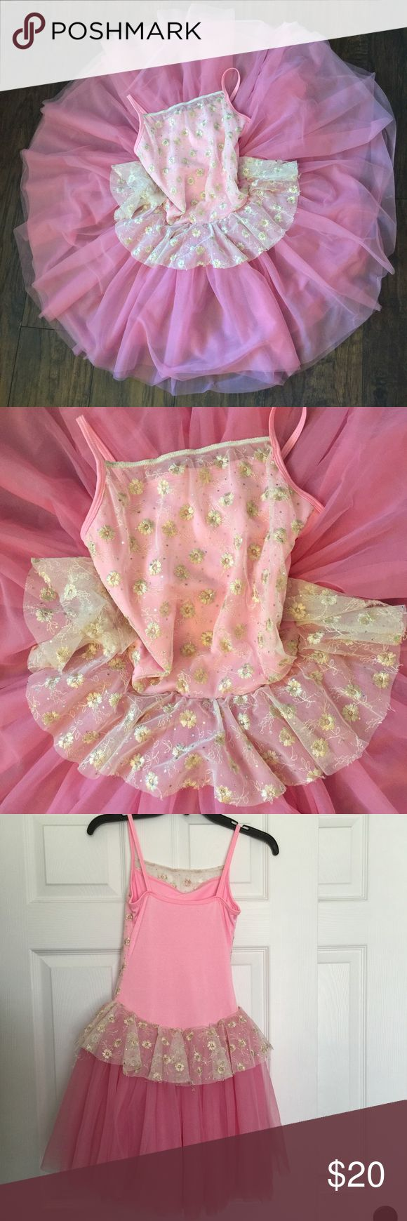 Curtain call ballet recital dress So pretty in pink! Body - 80% nylon, 20% spandex. Front overlay - 100% polyester. Skirt - 100% nylon. Measures from top of strap to bottom of skirt 32 1/2 in. From top of strap to waist line 14 1/2 in. Underarm to underarm is 12 1/2 in. Waist is 13 in. Measurements were taken with dress laying flat. Curtain Call Other