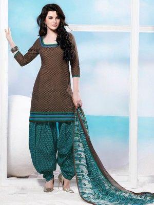 Brown SkyBlue Cotton Pretty Patiala Salwar Kameez  parisworld.in