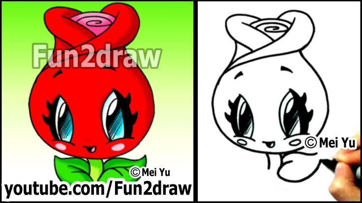 How to draw a rose cute easy kawaii drawings draw for Fun things to draw for girls