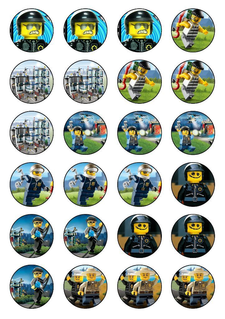 Lego City Police cupcake toppers edible rice paper.   eBay