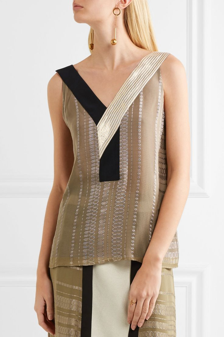 Multicolored silk-blend jacquard  Slips on  90% silk, 10% rayon; trim1: 100% silk; trim2: 90% silk, 10% metallic fibers  Dry clean