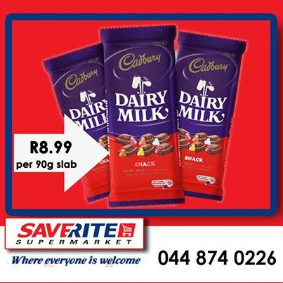 We have winter comfort food on special again. Saverite Supermarket York Street, has Cabury chocolates, selling at only R8.99 per 90g slab. Hurry on down and save on our weekend specials. #supermarket #groceries