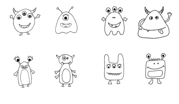 Szörnyikék színező kicsiknek! Monsters coloring page for little ones!