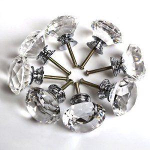 WMicroUK Ensemble de boutons de porte en Cristal/16 X 40-LS D3020 mm Clair cristal en forme de diamant pour porte de placard tiroir à la…