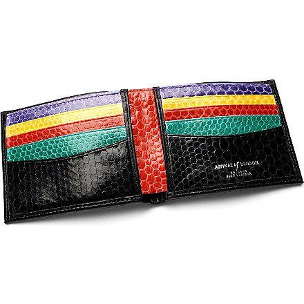 ASPINAL OF LONDON Exotic billfold wallet (Black & rainbow