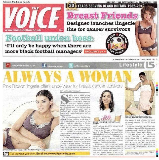 Pink Ribbon Lingerie is famous! We have been featured in The voice newspaper.