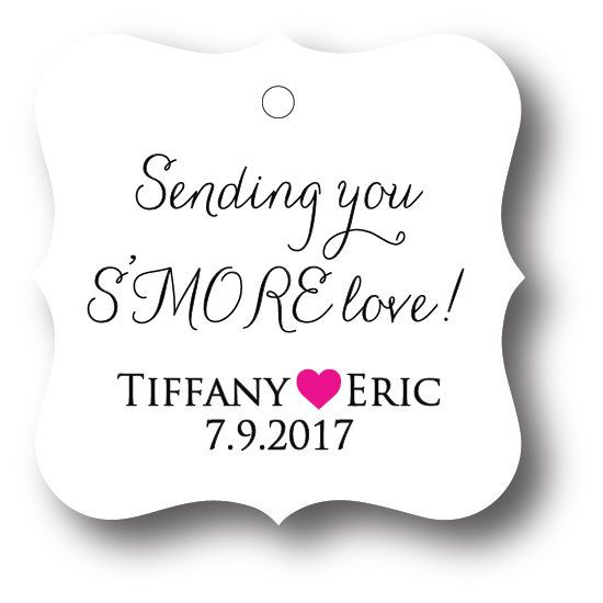 24 Sending you S'MORE love! Personalized Wedding Favor Tag, Gift Tags #Unbranded