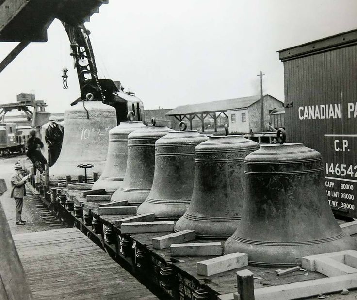 Bells for the Peace Tower arrive in Ottawa in 1926. They would ring for the first time on July 1, 1927. Cast in England, the 53 bells of the Carillon were shipped across the ocean from England, then brought by rail to Ottawa.