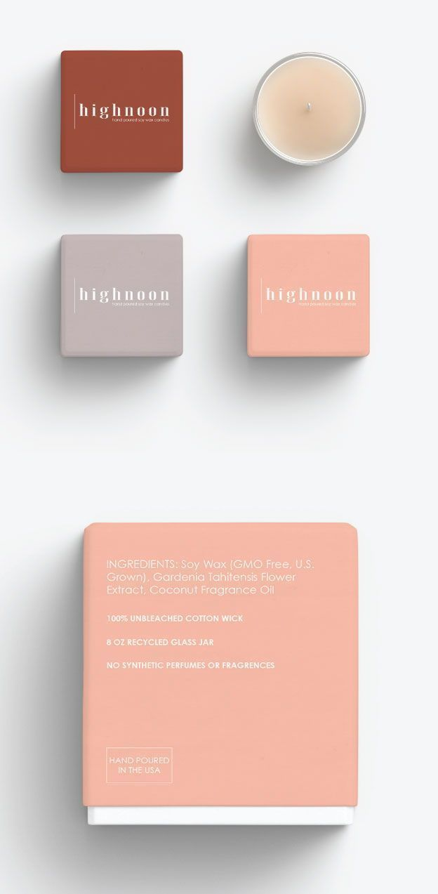 Highnoon Brand And Packaging Designed By Here Now Creative Co The Design Is Clean And Light Candle Packaging Design Candle Logo Design Candle Packaging