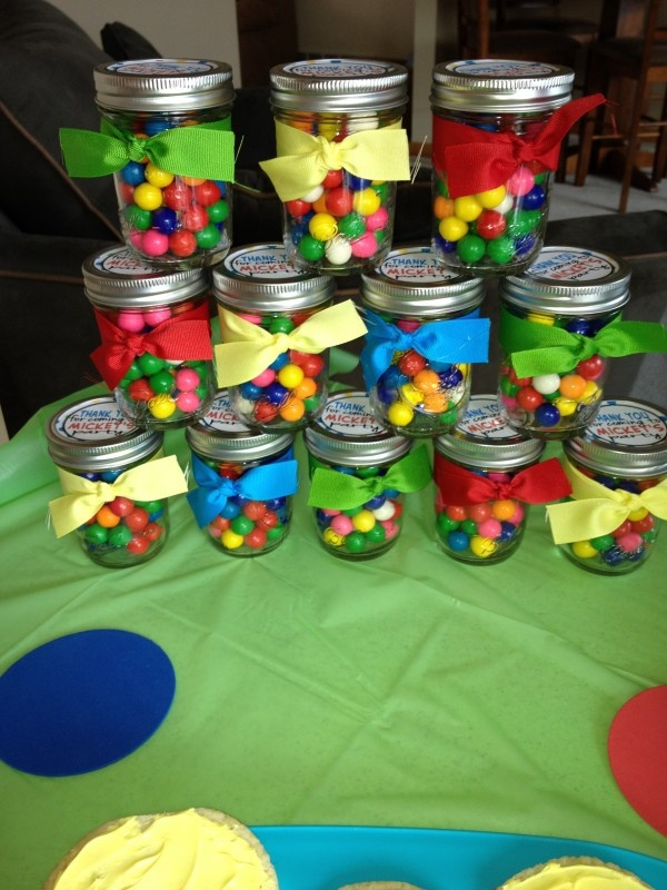 Polka Dot Party: Jam jars with sweets make great village fete tombola prizes too.