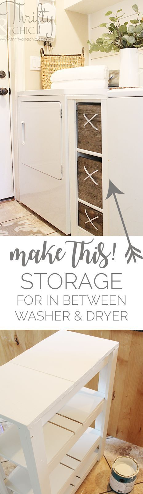 DIY in between washer and dryer storage cabinet for the laundry room | Small laundry room organization and storage ideas