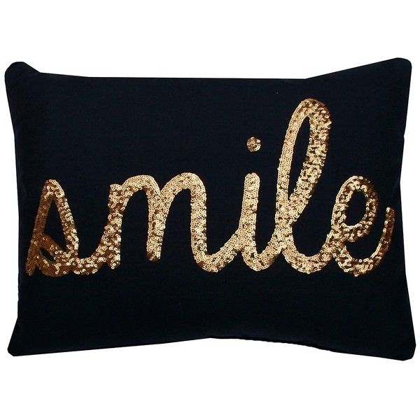 Thro Home Smile Sequin Script Faux Linen Pillow - Peacoat Navy/Gold (£17) ❤ liked on Polyvore featuring home, home decor, throw pillows, peacoat navy gold, gold accent pillows, gold sequin throw pillow, gold toss pillows, navy blue home decor and navy toss pillows