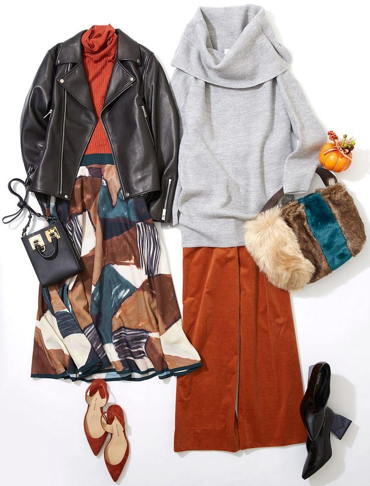 """ドレスコードは""""オレンジ""""で仲よし女子会! ルミネ新宿のアイテムを使って秋冬の流行色を使いながら、ハロウィン色の街に似合う着こなしにトライ! 人気スタイリストMeguさんがシンプル服にトレンド小物を合わせた、今どき感たっぷりのキレ味のあるコーディネートを提案します!"""