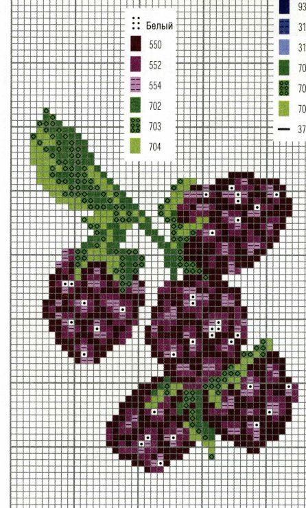 Blackberries, Gooseberries, Blackberry, Gooseberry, Black Goose Berry Berries, fruit, pixel art, cross stitch pattern